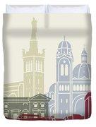 Marseille Skyline Poster Duvet Cover
