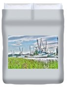 Marsh View Shrimp Boats Duvet Cover