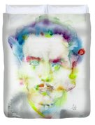 Marshall Mcluhan - Watercolor Portrait Duvet Cover