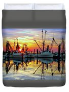 Marshallberg Harbor Sunset Duvet Cover