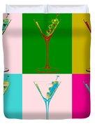 Martini Pop Art Panels Duvet Cover