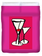 Martini With Pink Background Duvet Cover