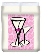 Martini With Pink Leopard Background Duvet Cover