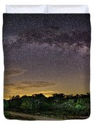 Marveling At The Creation Of God - Milky Way Panorama At Enchanted Rock - Texas Hill Country Duvet Cover