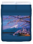 Marvellous Mount Fuji With Cherry Blossom In Japan Duvet Cover