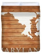 Maryland Rustic Map On Wood Duvet Cover