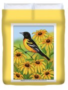 Maryland State Bird Oriole And Daisy Flower Duvet Cover by Crista Forest