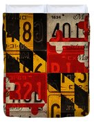 Maryland State Flag Recycled Vintage License Plate Art Duvet Cover