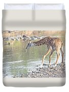 Masai Giraffe Drinking Duvet Cover