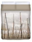 Masts In Sepia Duvet Cover