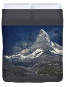 Matterhorn In Starry Night Duvet Cover