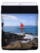 Maui Sailing Canoe Duvet Cover