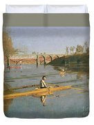 Max Schmitt In A Single Scull Duvet Cover by Thomas Cowperthwait Eakins