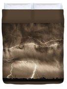 May Showers - Lightning Thunderstorm Sepia Hdr Duvet Cover