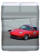 Mazda Miata On Pit Lane Duvet Cover