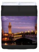 Bridge Of Alexandre IIi At Night Duvet Cover