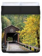 Mckee Bridge In Fall Duvet Cover