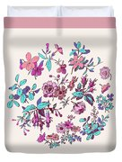 Meadow Flower And Leaf Wreath Isolated On Pink, Circle Doodle Fl Duvet Cover