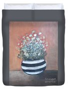 Meadow Flowers In Striped Vase  Duvet Cover