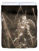 Meadow Grass In Sepia Duvet Cover