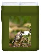 Meadow Pipit With Food Duvet Cover