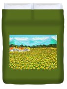 Meadow With Yellow Dandelions, Oil Painting Duvet Cover