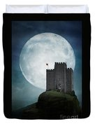 Medieval Castle At Night By Moonlight Duvet Cover