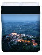 Medieval Hilltop Village Of Smartno Brda Slovenia At Dusk With S Duvet Cover