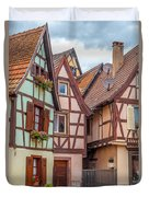 Medieval Houses In Ribeauville  Duvet Cover