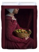 Medieval Woman Holding A Basket Of Apples Duvet Cover