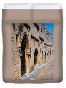Medievil Town In Rhodes Duvet Cover by Sandra Bronstein