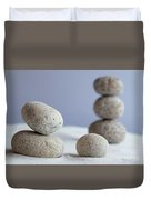 Meditation Stones On White Sand Duvet Cover