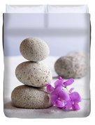 Meditation Stones Pink Flowers On White Sand Duvet Cover