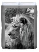 Meditative Lion In Black And White Duvet Cover