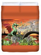 Medusa's Realm At Sunset Duvet Cover