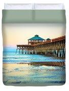 Meet You At The Pier - Folly Beach Pier Duvet Cover