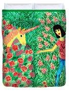 Meeting In The Rose Garden Duvet Cover
