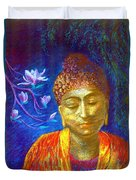 Meeting With Buddha Duvet Cover by Jane Small