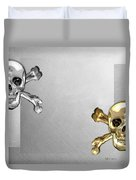 Memento Mori - Gold And Silver Human Skulls And Bones On White Canvas Duvet Cover