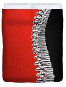 Memento Mori - Silver Human Backbone Over Red And Black Canvas Duvet Cover