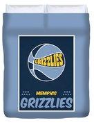 Memphis Grizzlies Vintage Basketball Art Duvet Cover