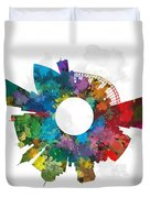 Memphis Small World Cityscape Skyline Abstract Duvet Cover