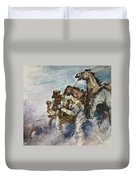 Men And Horses Battling A Storm Duvet Cover by James Edwin McConnell