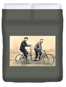 Men On Dual Bicycle, Cca 1900 Duvet Cover