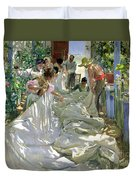 Mending The Sail Duvet Cover by Joaquin Sorolla y Bastida