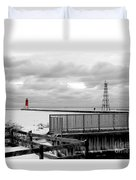 Menominee North Pier Lighthouse On Ice Duvet Cover