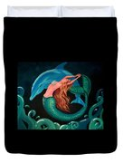 Mermaid And Dolphin  Duvet Cover