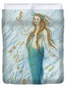 Mermaid And Her Golden Seahorse Duvet Cover