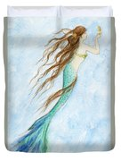 Mermaid And Her Seahorse Duvet Cover
