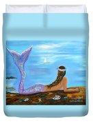 Mermaid Beauty On The Beach Duvet Cover